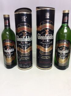 2 bottles - Glenfiddich Special Old Reserve Pure Malt Single Malt Scotch Whisky in Tube