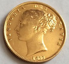 Australia - Sovereign 1877-S Sydney 'Victoria Young Head Shield Back' - Gold