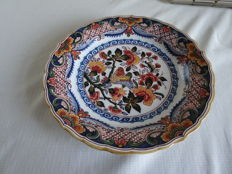 Tichelaar - Large wall plate with a floral and bird decor