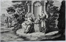 Unknown artist (18th century) - Jesus speaking at an well with an woman listening - 18th century