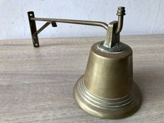 Antique copper store bell - complete.
