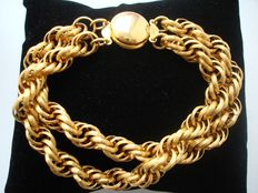 Vintage 1970s - 14k Gold Plated Swirl Twisted Rope ribbed links Unisex Bracelet - Excellent