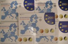 Germany, euro coin year sets, 2008A-D-F-G-J (five sets), complete