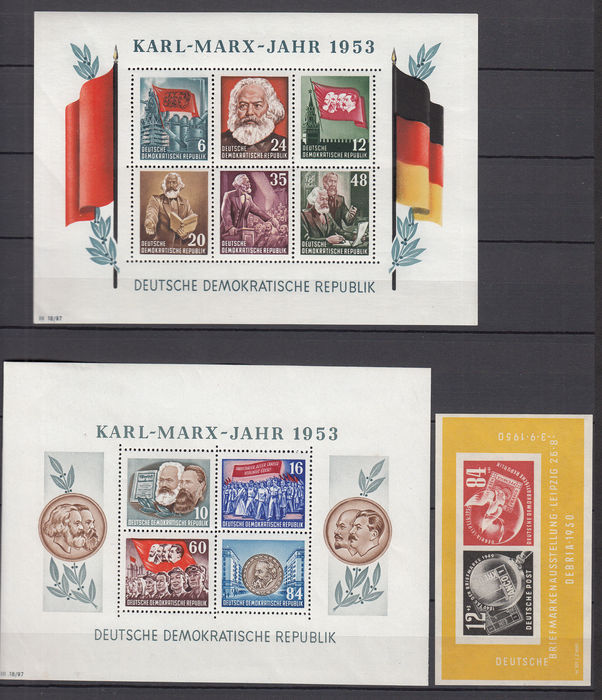 GDR or East Germany 1950/1953 - Selection of blocks - Michel 7, 8A/B + 9A/B, used for sale