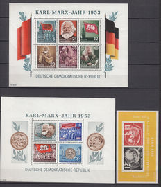 GDR or East Germany 1950/1953 – Selection of blocks – Michel 7, 8A/B + 9A/B