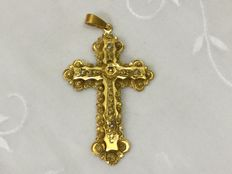 14 kt gold cross pendant with seed pearls – late 19th century