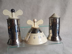 Alessi - designer Michael Graves - signed - set pepper salt shaker timer