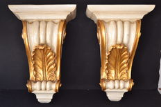 Large pair of corbels (56x33) - polychrome carved wood , gilt details - France -  19th century