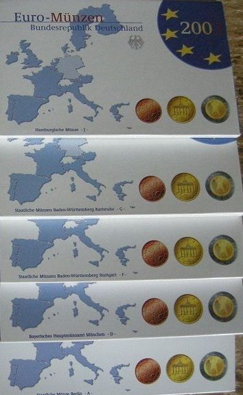 Germany – year packs Euro coins 2003, A, D, F, G, J (5 pieces), complete.
