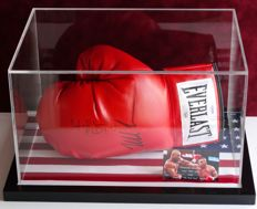 """Iron"" Mike Tyson EN Evander ""The Real Deal"" Holyfield gesigneerde bokshandschoen in Display Case + COA PSA"
