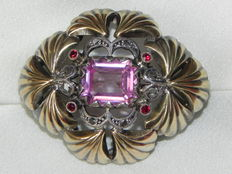 Pink sapphire, rubies, rose cut diamonds, gold/silver brooch
