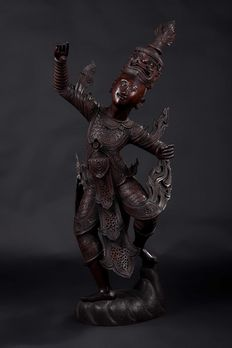 Large stature of a female Buddhist dancer - 130 cm - Burma - 19th century