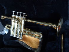 New gold-coloured Piccolo Trumpet ChS PTR3110Gd with solid case, Bb