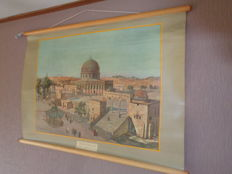 Beautiful old school poster / school map with Jerusalem and its temple square.