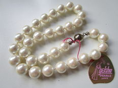 Cultured freshwater pearl necklace – 38 cm – 0.925 silver clasp