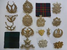Collection of 17 different Scottish beret / collar emblems