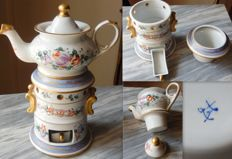 Antique baluster lidded teapot and warmer