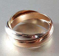 18 kt yellow white and rose gold Trinity ring - Size 51/16.25