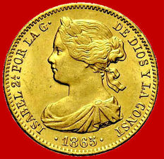 Spain – Isabel II (1833–1868) – 10 escudos gold coin – 1865 – Madrid