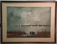 Unknown artist - Bay with boats
