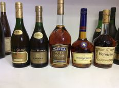 80s & 90s Cognac V.S., France , 5 bottles 0,7l & 1,0L 40% Vol