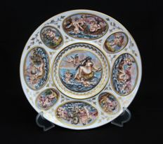 Capodimonte Plate with angels and mythological figures