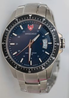 Swiss Eagle blue/red men's wristwatch with three days date