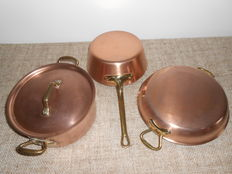 3 Copper cooking pots 'EENHOORN' - Excellent quality! Tin plated with brass handles.