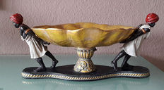 Large, decorative table centrepiece - bowl supported by 2 Moors.