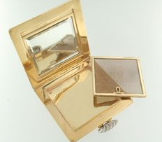 18 kt gold powder box set with 22 single cut diamonds, approx. 0.10 ct