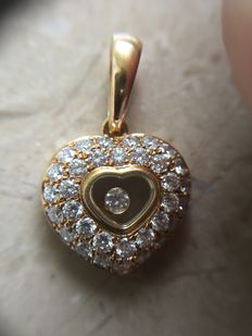 "Chopard - Pendant collection ""Happy Diamonds"" - 18 ct Yellow gold - 14mm x 14mm"