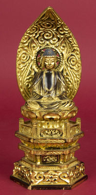 Buddha, gold-plated wood with varnish - Japan - 19th century