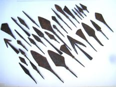 Good collection of medieval iron arrowheads - (33)