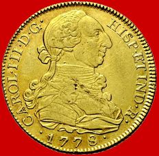 Spain – Carlos III (1759–1788). 8 gold escudos – 1778 – Madrid. Rare.