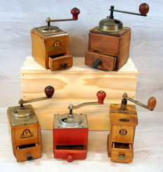 Collection of 5 antique wooden coffee grinders