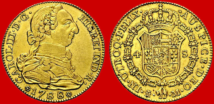 Spain – Carlos III (1759–1788) – 4 escudos in gold. Madrid, 1788.