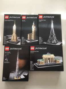 Architecture - 21002 + 21011 + 21013 + 21019 + 21031 - Empire State Building -  Brandenburg Gate - Big Ben - The Eiffel Tower - Burj Khalifa
