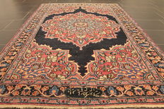 Antique hand-knotted Art Nouveau Persian palace carpet, Mashhad, 130 x 200 cm, made in Iran, signed by the weaver