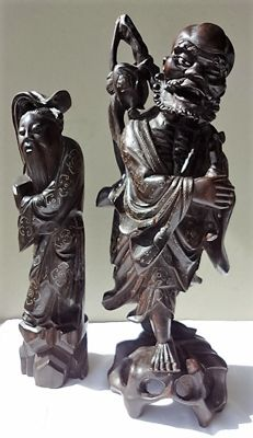 Wooden statues of immortals with silver inlay - China - 1930's