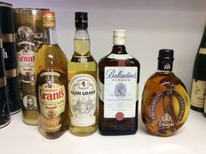 4 bottles - William Grant's Family Reserve, Glen Grant Pure Malt, Ballantine's Finest, Dimply 15 years old