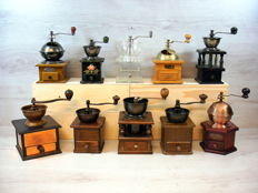 Collection of 10 antique wooden coffee grinders