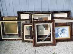 Twelve wooden picture frames - frames - first half 20th century