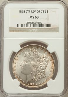 United States - 1 Dollar 'Morgan' 1878 (7 Tail Feathers) NGC MS63 - Silver