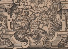 Virgil Solis ( 1514-1562 ) - signed title engraving for a Lutheran bible printed in Frankfurt - 1566