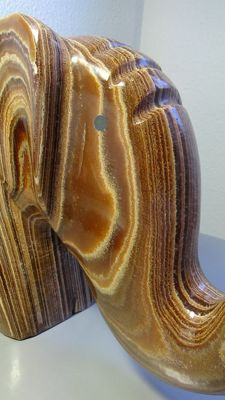 Large polished Tiger's Eye Elephant sculpture - 33 x 20 cm - 8 kg