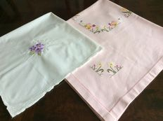 Cotton and linen table cloth with embroidery and cut work for Easter