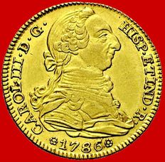 Spain – Carlos III (1759-1788), 4 escudos gold coin, minted in Madrid in 1788, assayer DV.
