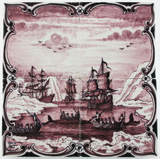 Koch, Workum - Tile tableau depicting a whale hunt after M. Sallieth