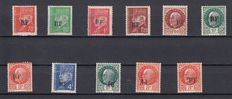 France 1944 - Liberation of Chatellerault including variety - Maury no. 2, 3, 4, 5, 6, 7, 9, 11 - 7 and 9 inverted and 9 with double surcharge, all signed Calves.