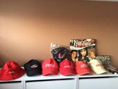 Coca-Cola items, among others 6 caps, a LP, and a domino game, mostly from the 90s
